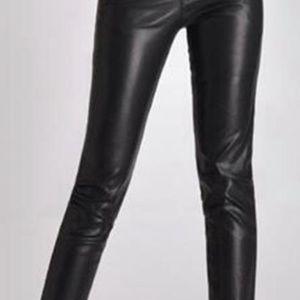 Zara woman faux lather denim skinny jeans